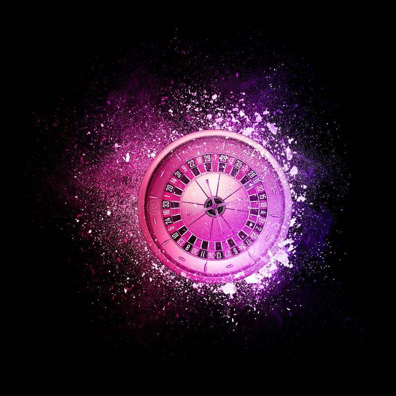 Casino roulette flying in violet particles. Casino roulette flying in violet particles isolated on black background. Sport competition concept for roulette vector illustration