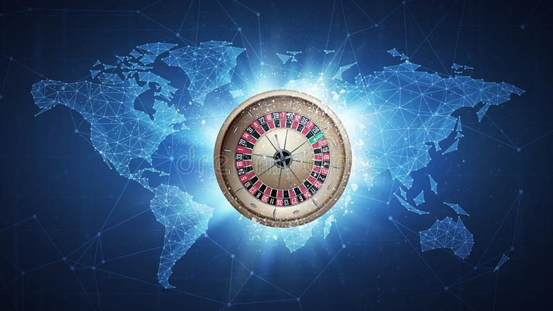 Casino roulette flying on world map background. Casino roulette flying in white particles on the background of blockchain technology network polygon world map stock illustration
