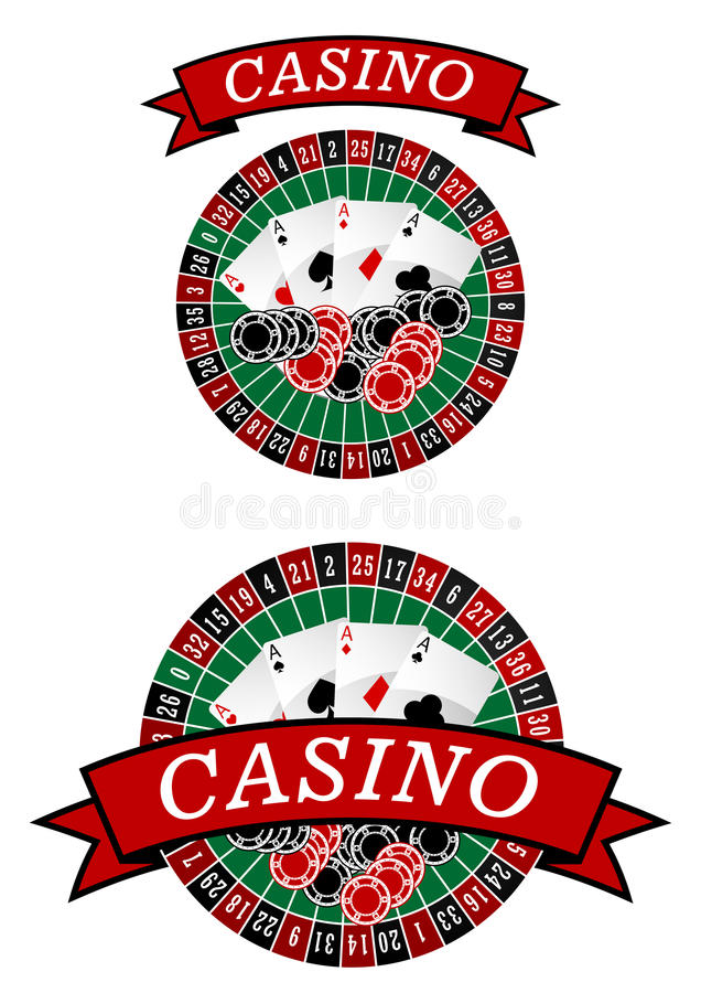 Casino roulette with gambling elements. Casino roulette symbol with gambling chips and cards for lucky cocnept design royalty free illustration