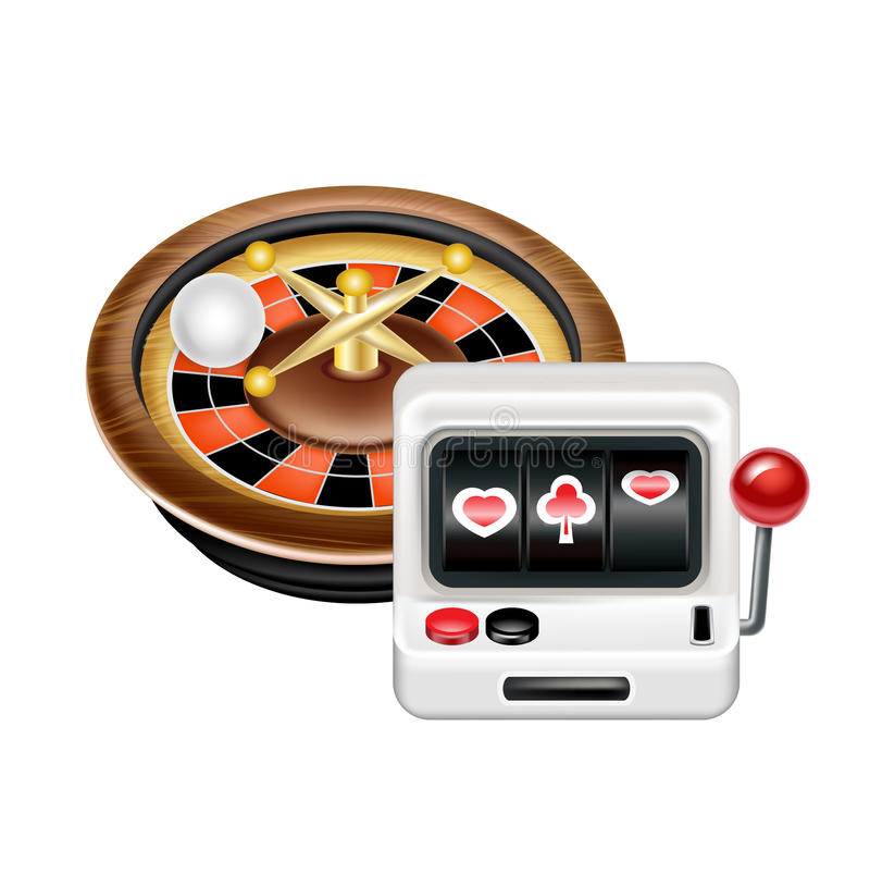 Casino roulette with gambling machine isolated. On white royalty free illustration