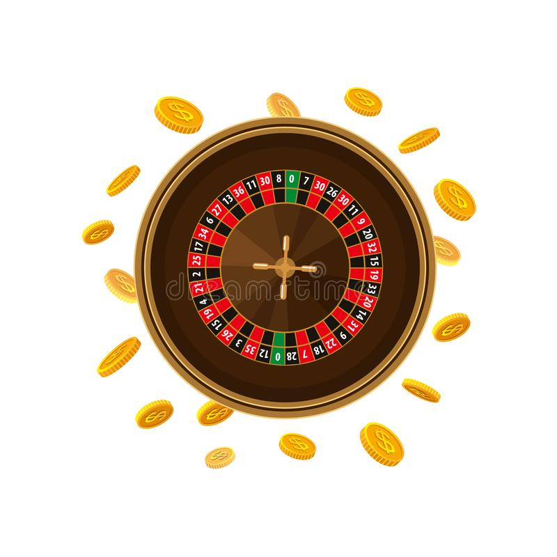 Casino roulette game and falling golden coins. Casino roulette table game and golden coins falling down, vector illustration isolated on white background vector illustration