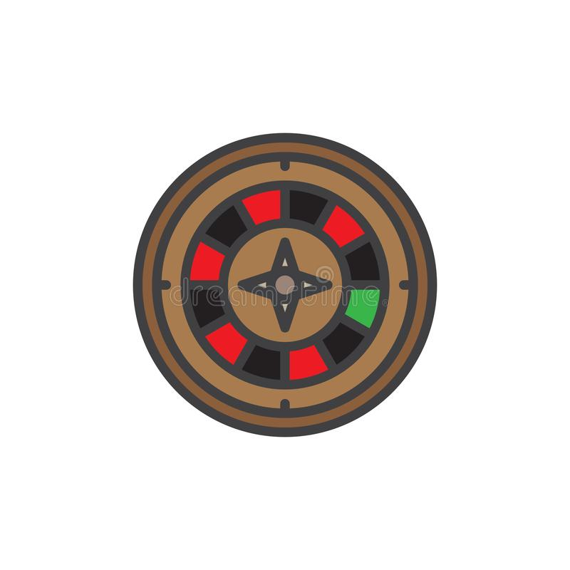 Casino roulette game filled outline icon stock illustration