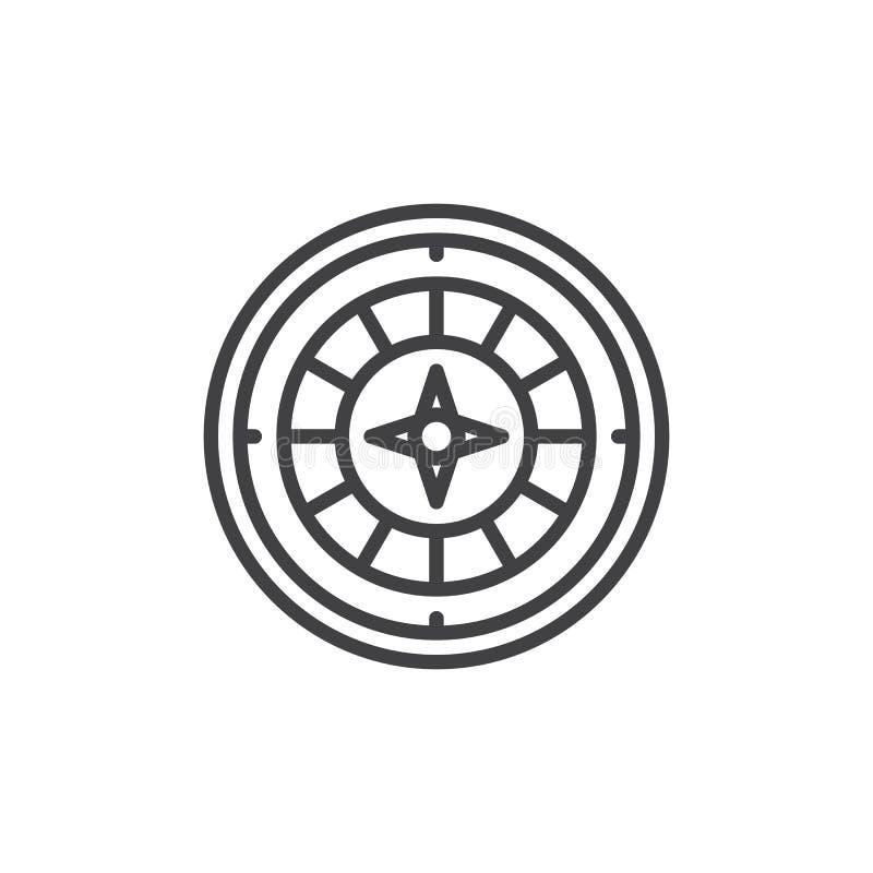 Casino roulette game line icon. Outline vector sign, linear style pictogram isolated on white. Symbol, logo illustration. Editable stroke vector illustration
