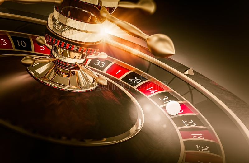 Casino Roulette Games. Concept 3D Render Illustration. Vegas Gambling. Spinning Roulette Closeup stock illustration