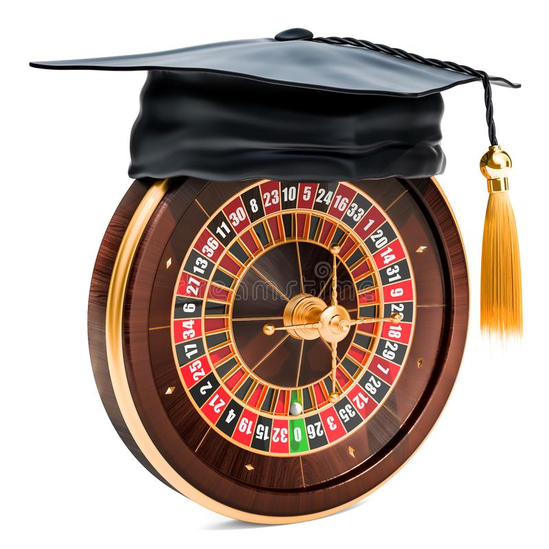 Casino roulette with graduation cap. 3D rendering. Casino roulette with graduation cap. 3D royalty free illustration