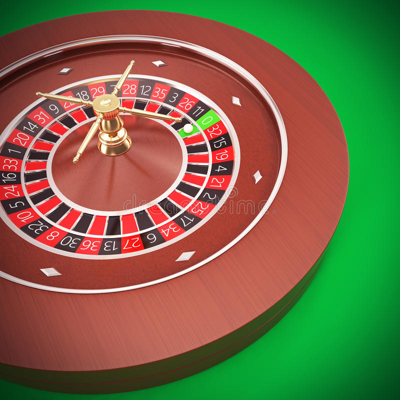 Casino Roulette with a green background. Casino Roulette on a table with a green background. 3d illustration High resolution royalty free illustration