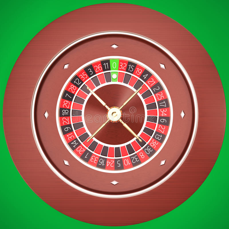 Casino Roulette with a green background. Casino Roulette on a table with a green background. 3d illustration High resolution vector illustration