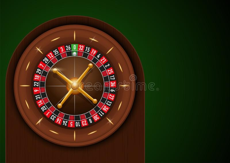 Casino roulette on green cloth. Game design with space for text. Symbol of gambling. Realistic Vector Illustration royalty free illustration