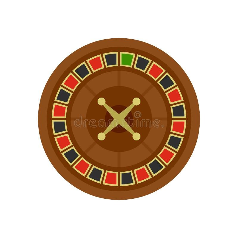 Casino roulette icon, flat style. Casino roulette icon. Flat illustration of casino roulette icon for web isolated on white royalty free illustration