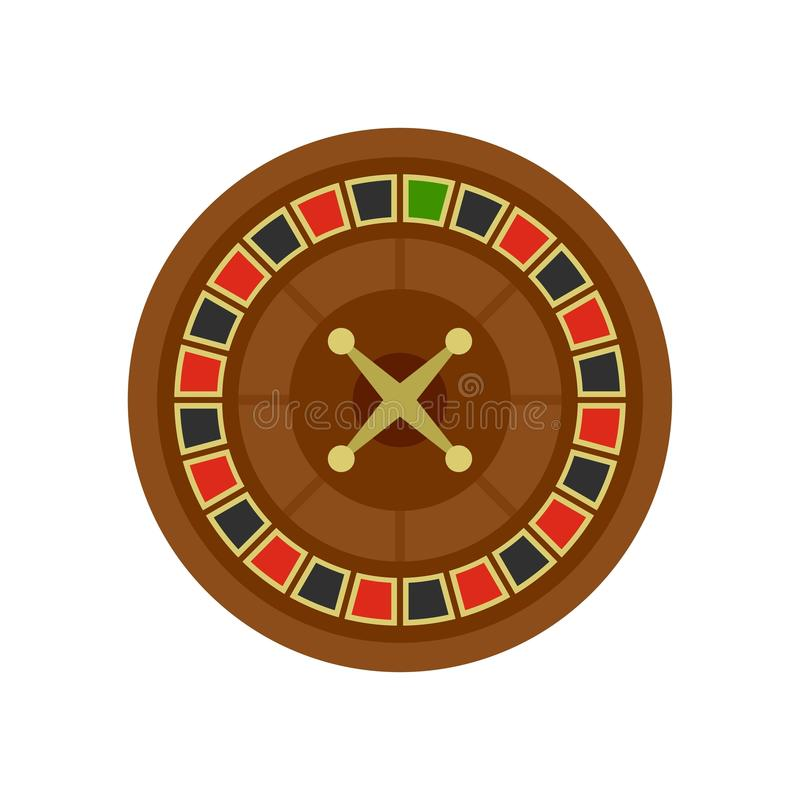 Casino roulette icon, flat style. Casino roulette icon. Flat illustration of casino roulette vector icon for web isolated on white stock illustration