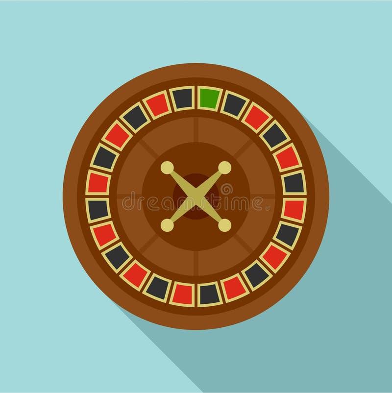 Casino roulette icon, flat style. Casino roulette icon. Flat illustration of casino roulette vector icon for web design stock illustration