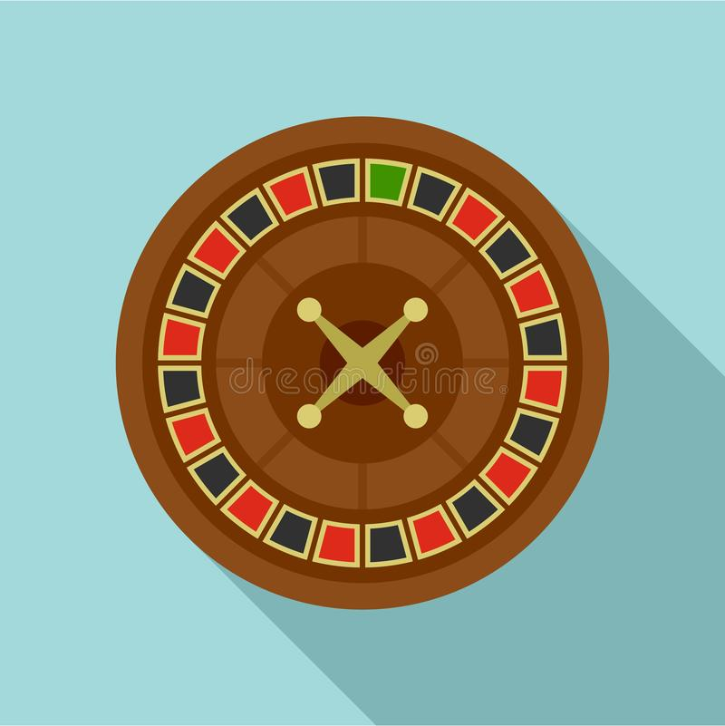 Casino roulette icon, flat style vector illustration