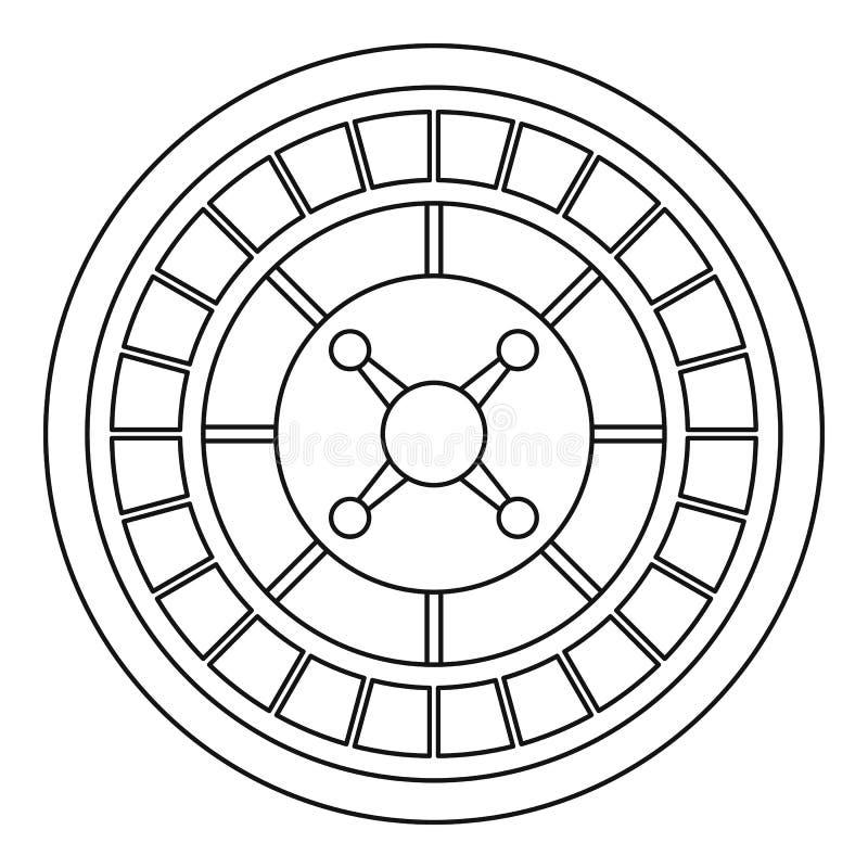 Casino roulette icon, outline style. Casino roulette icon. Outline casino roulette vector icon for web design isolated on white background stock illustration