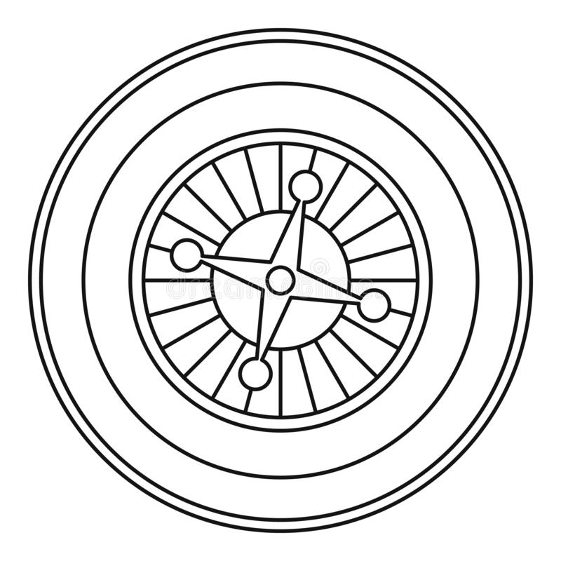 Casino roulette icon, outline style. Casino roulette icon. Outline illustration of casino roulette icon for web royalty free illustration