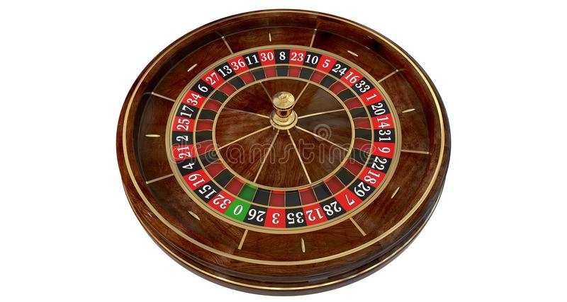 Casino roulette wheel 3D royalty free illustration