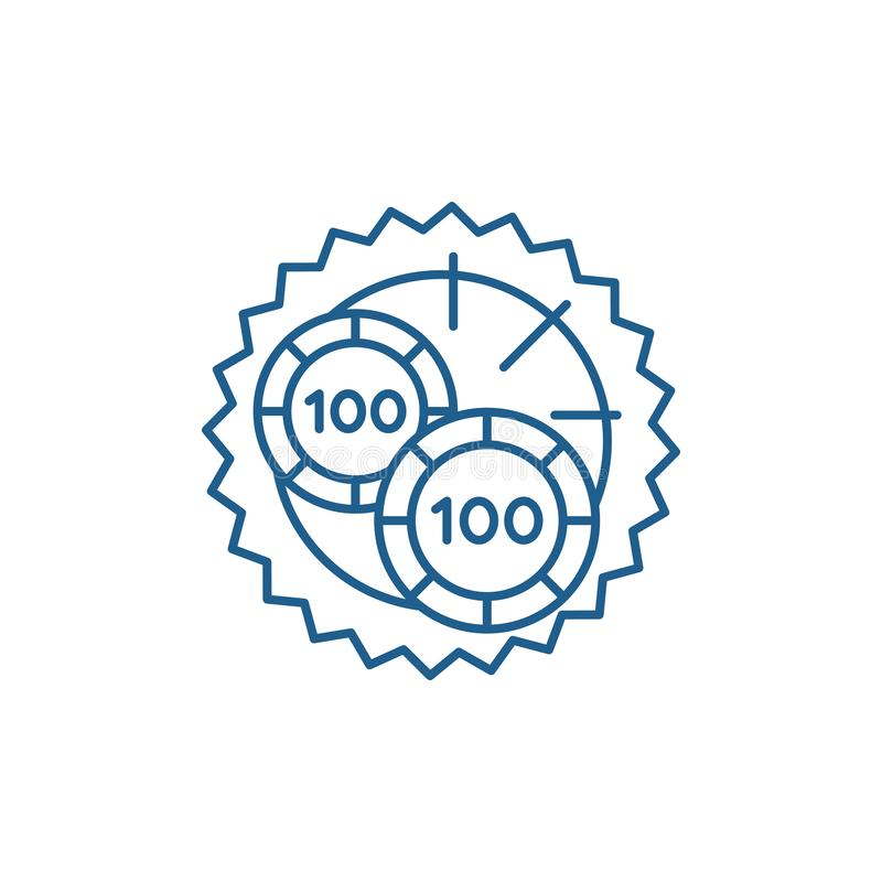 Casino roulette luck line icon concept. Casino roulette luck flat  vector symbol, sign, outline illustration. Casino roulette luck line concept icon. Casino vector illustration