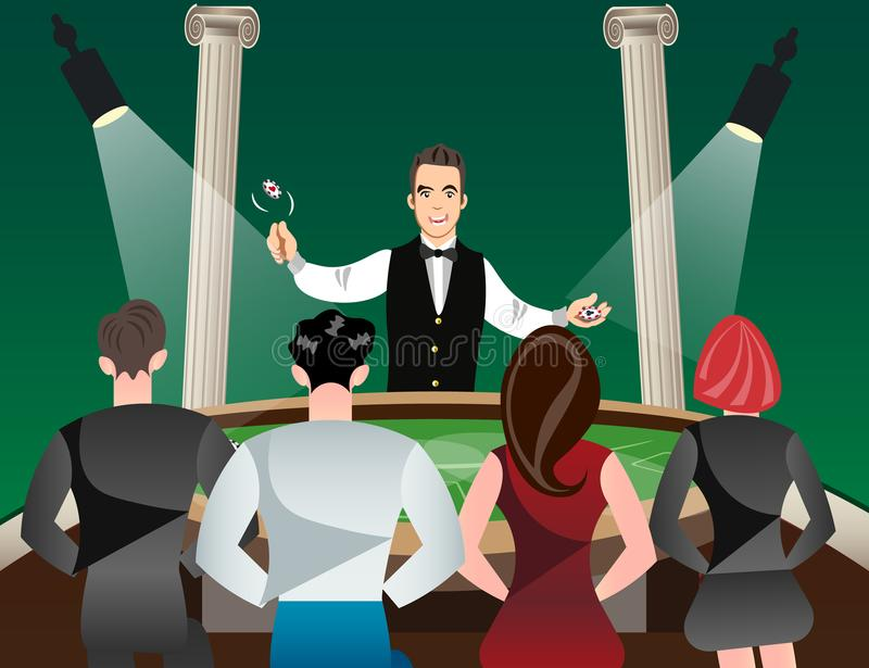 Casino and roulette with men women and croupier. Vector illustration royalty free illustration