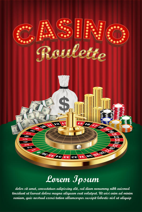 Casino roulette with money and casino chips. A casino roulette with money and casino chips stock illustration