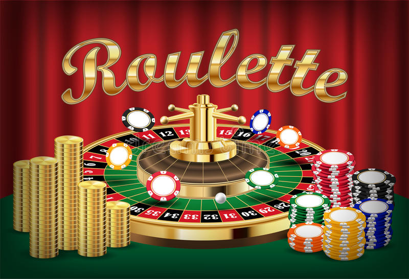 Casino roulette with pile of coin and casino ship. A casino roulette with pile of coin and casino ship stock illustration
