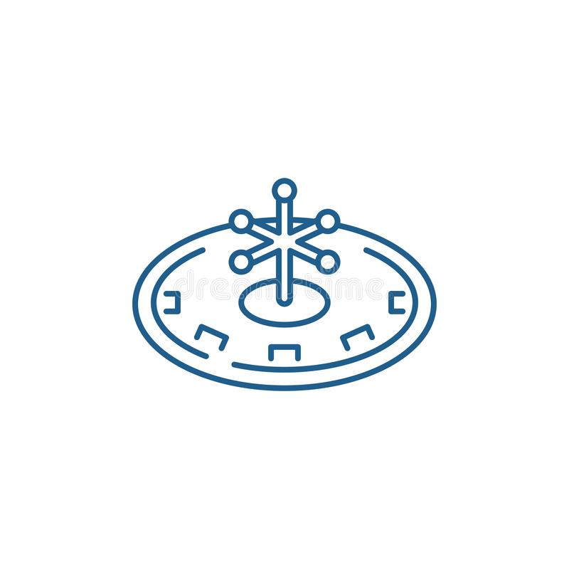 Casino roulette play line icon concept. Casino roulette play flat  vector symbol, sign, outline illustration. Casino roulette play line concept icon. Casino vector illustration