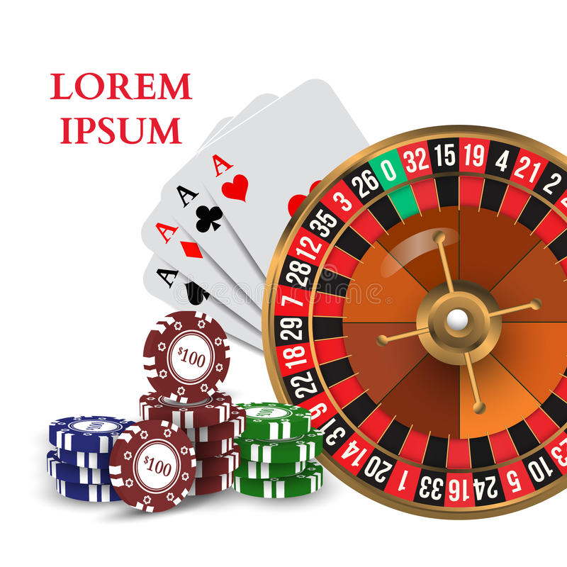Casino Roulette Playing Cards Chips. Vector. Illustration vector illustration
