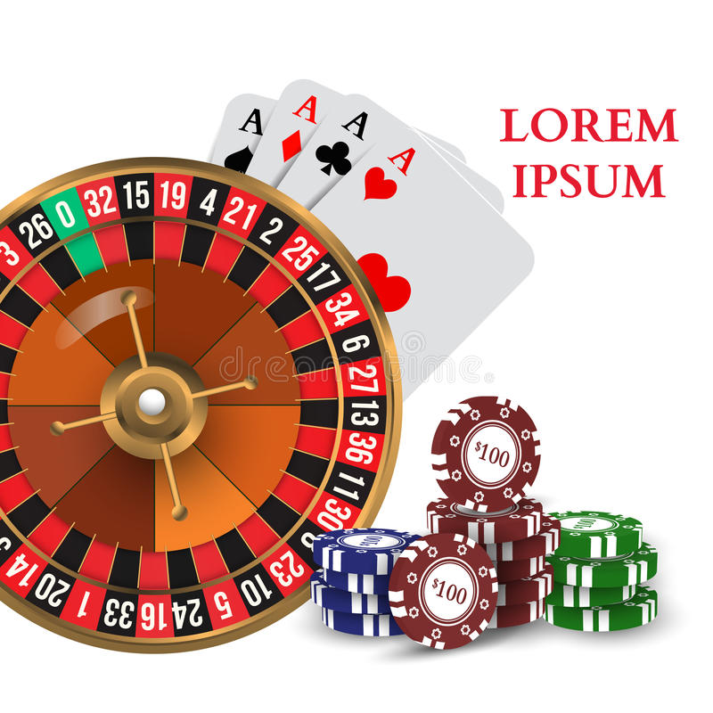 Casino Roulette Playing Cards with Chips. Vector. Illustration royalty free illustration