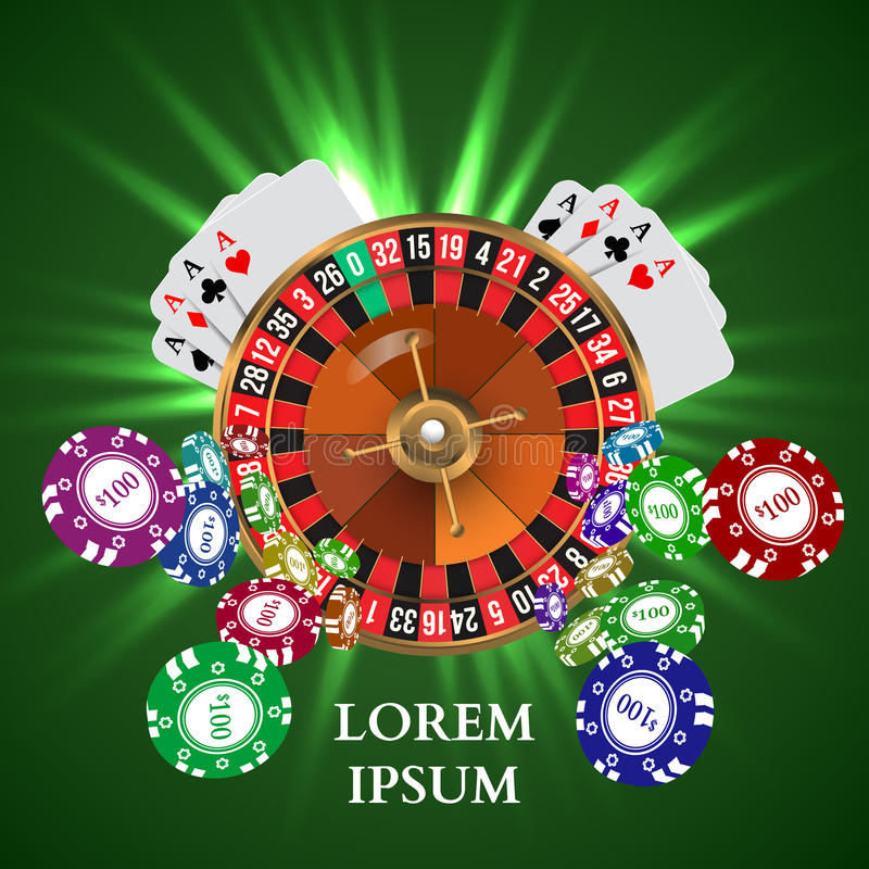 Casino Roulette Playing Cards witn Falling Chips. Vector illustration stock illustration