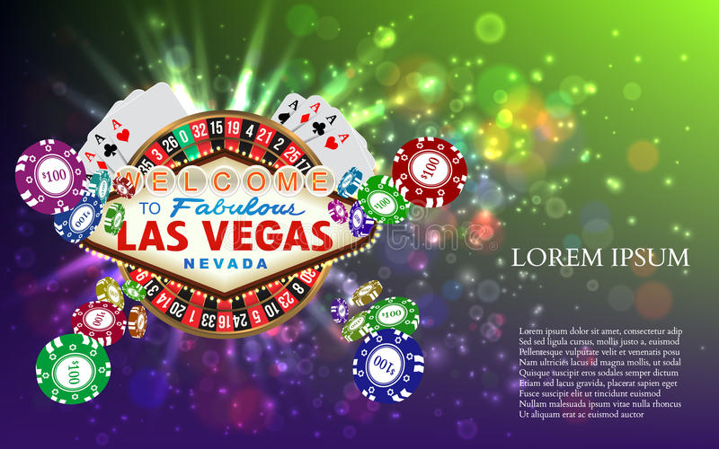 Casino Roulette Playing Cards witn Falling Chips. Vector illustration royalty free illustration