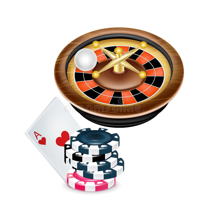 Casino roulette and poker chips with ace card stock illustration