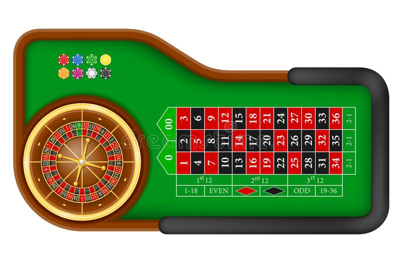Casino roulette table stock vector illustration. Isolated on white background royalty free illustration