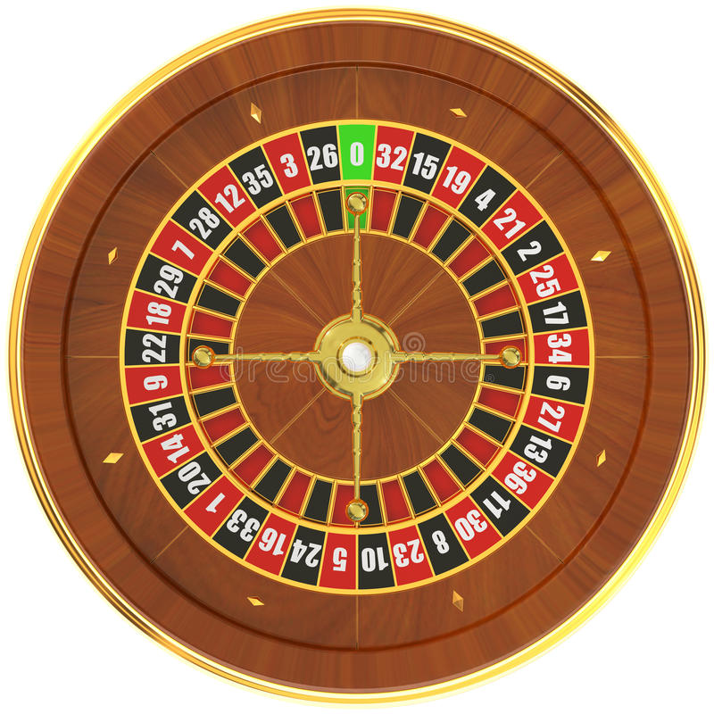Casino roulette, top view. 3D rendering stock illustration