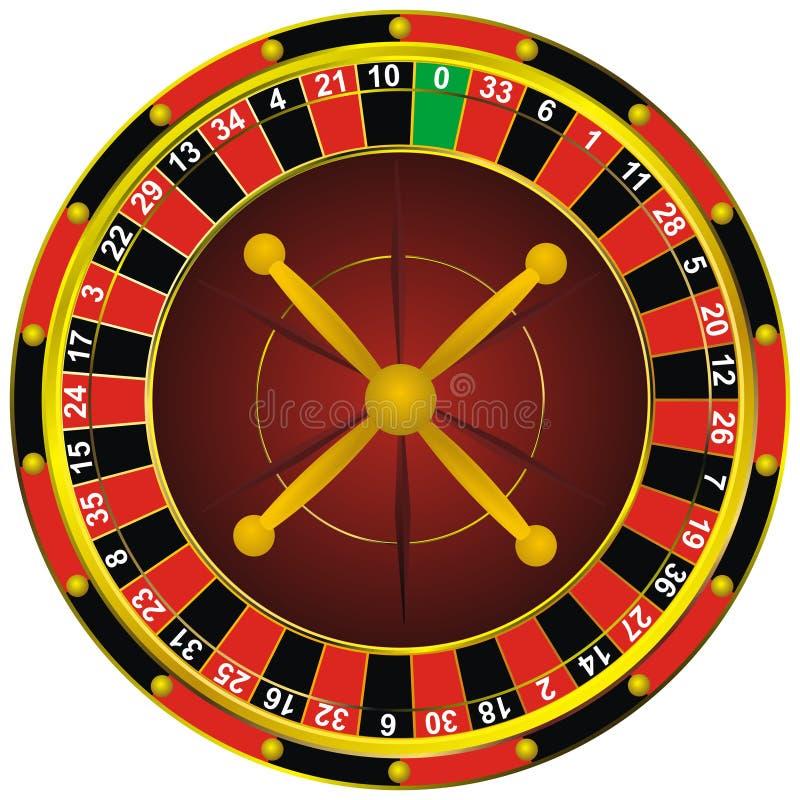 Casino roulette wheel. Casino roulette colorful wheel, isolated on white stock illustration