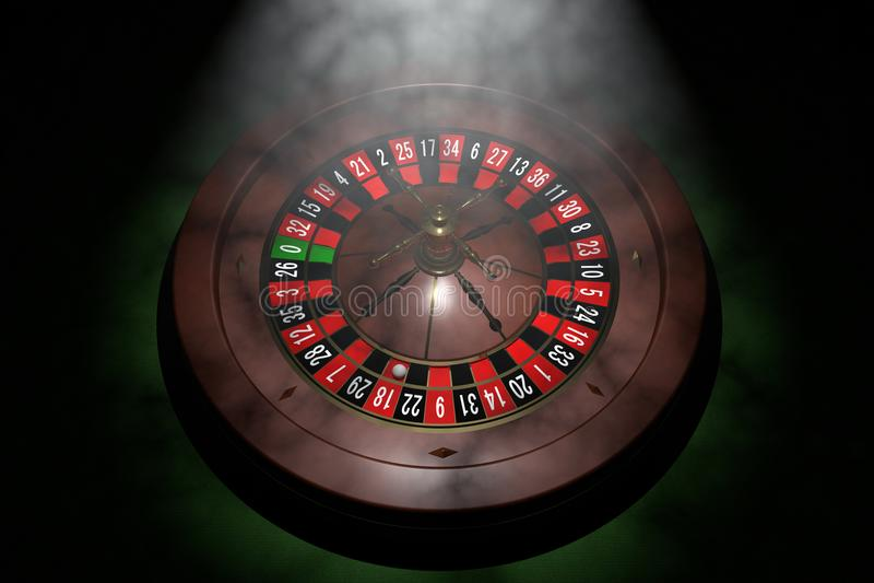 Casino roulette wheel. 3D render. Casino roulette wheel background. 3D render illustration stock illustration