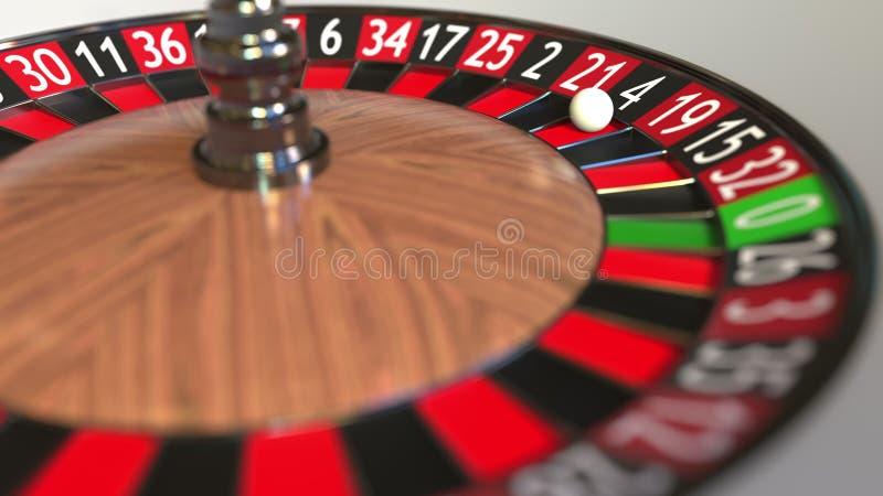 Casino roulette wheel ball hits 4 four black. 3D rendering royalty free illustration