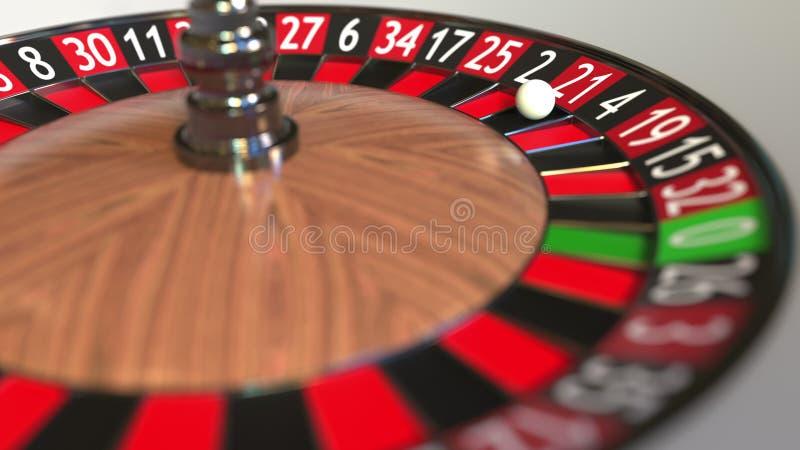 Casino roulette wheel ball hits 21 twenty-one red. 3D rendering stock illustration