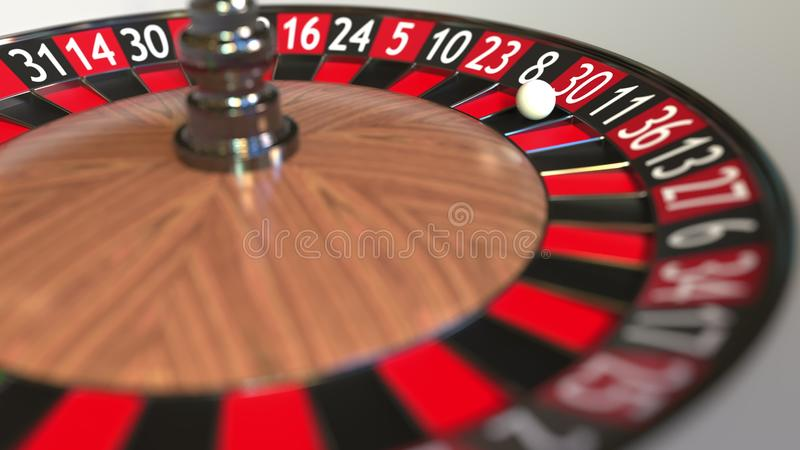 Casino roulette wheel ball hits 30 thirty red. 3D rendering royalty free illustration