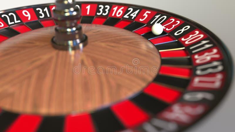 Casino roulette wheel ball hits 23 twenty-three red. 3D rendering royalty free illustration