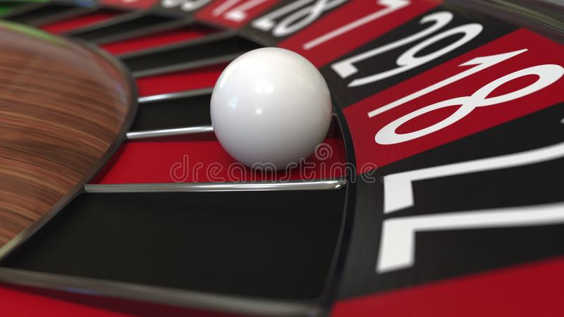 Casino roulette wheel ball hits 18 eighteen red. 3D rendering. Casino roulette wheel hits 18 eighteen red, close-up shot vector illustration