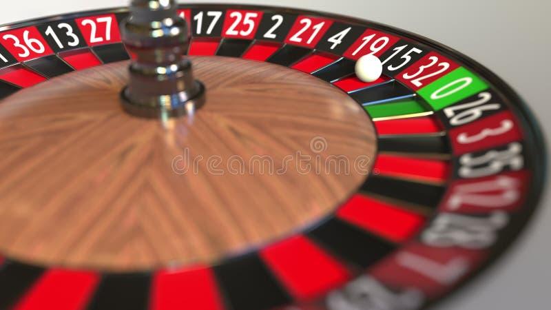 Casino roulette wheel ball hits 15 fifteen black. 3D rendering stock illustration
