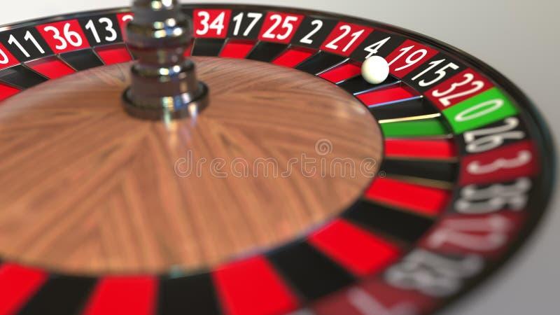 Casino roulette wheel ball hits 19 nineteen red. 3D rendering stock illustration