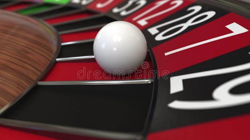 Casino roulette wheel ball hits 7 seven red. 3D rendering. Casino roulette wheel hits 7 seven red, close-up shot royalty free illustration