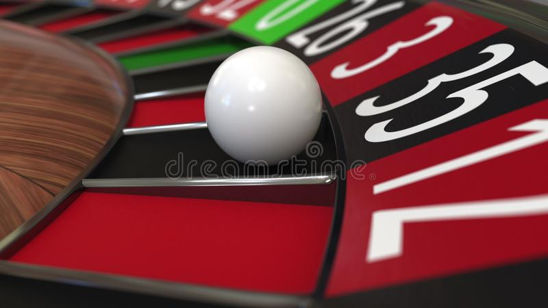 Casino roulette wheel ball hits 35 thirty-five black. 3D rendering. Casino roulette wheel hits 35 thirty-five black, close-up shot royalty free illustration