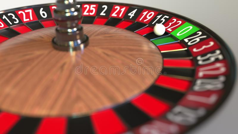 Casino roulette wheel ball hits 32 thirty-two red. 3D rendering royalty free illustration