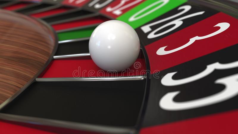 Casino roulette wheel ball hits 3 three red. 3D rendering. Casino roulette wheel hits 3 three red, close-up shot royalty free illustration