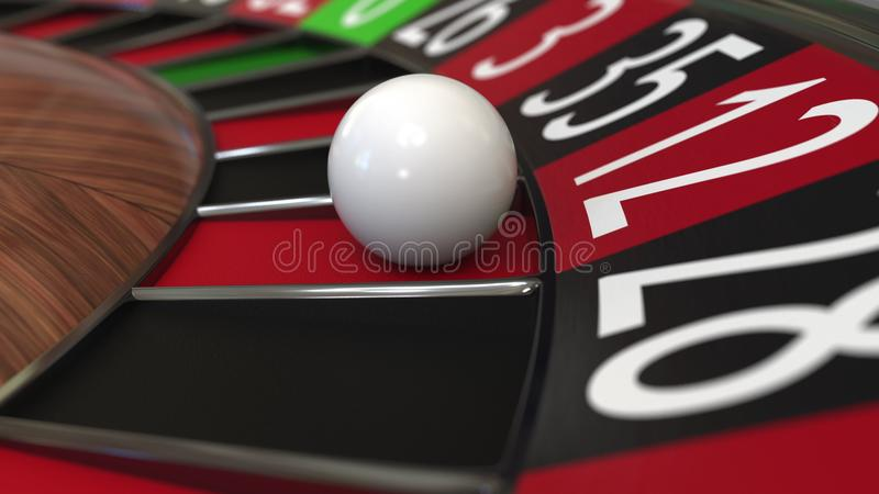 Casino roulette wheel ball hits 12 twelve red. 3D rendering. Casino roulette wheel hits 12 twelve red, close-up shot royalty free illustration