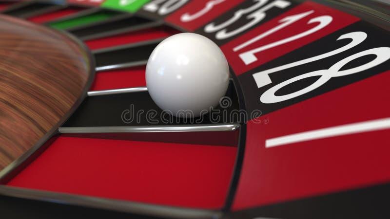 Casino roulette wheel ball hits 28 twenty-eight black. 3D rendering. Casino roulette wheel hits 28 twenty-eight black, close-up shot royalty free illustration