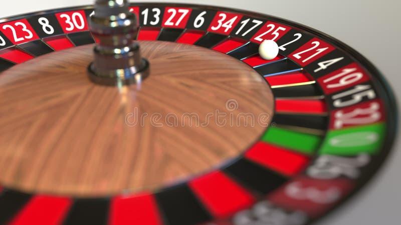 Casino roulette wheel ball hits 2 two black. 3D rendering stock illustration