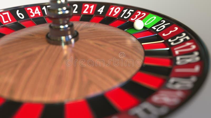 Casino roulette wheel ball hits 0 zero. 3D rendering. Casino roulette wheel and ball 3D stock illustration