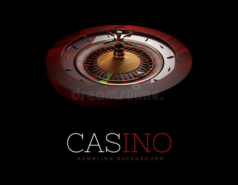 Casino Roulette Wheel with a ball. isolated black, 3D Rendering. Casino Roulette Wheel with a ball. isolated black, 3D Rendering royalty free illustration