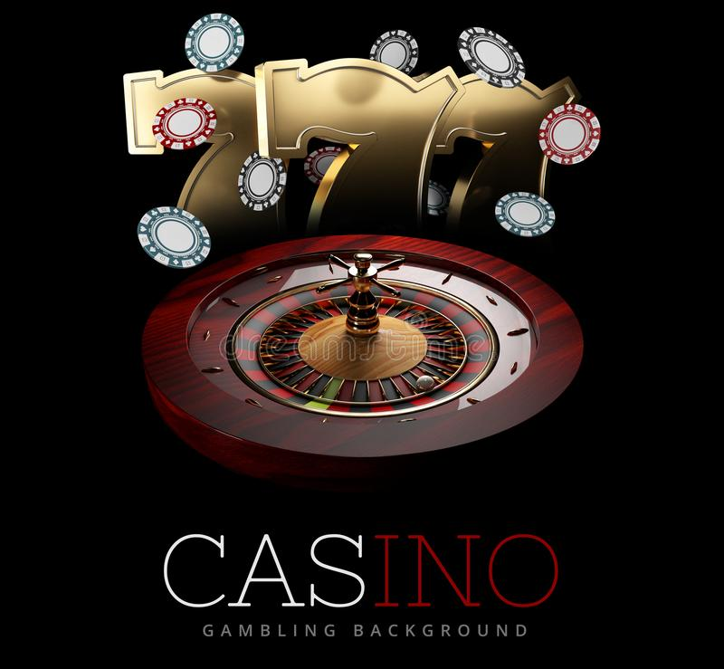 Casino Roulette Wheel with a ball and slot machine signs. isolated black, 3D Rendering.  royalty free illustration
